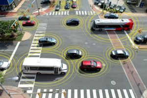 """Car-to-Car Communication  In a real-world test of car-to-car communication, the University of Michigan's Transportation Research Institute and NHTSA have put almost 3,000 """"intelligent"""" cars onto the streets of Ann Arbor."""