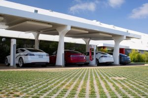 Tesla Supercharger Station  Tesla owners can get a free high-speed charge at stations currently located in California, Connecticut, Florida, Texas, Washington, Delaware, Illinois, Oregon and Texas. Coming very soon: a battery-pack swap.